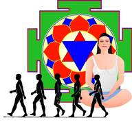 Woman sitting in meditation, walking figures in foreground, colorful madala in back.