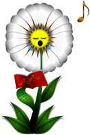 Image of a daisy singing music.