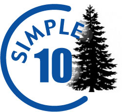 Simple Tens logo with a pine tree