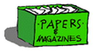A green recycling box for paper and magazines is full.