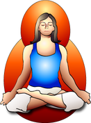 Woman sitting meditation in a lotus position with goo posture.