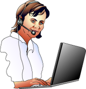 Working online with headset and laptop.