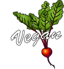 Vegan picture of a beet root and beet leaves
