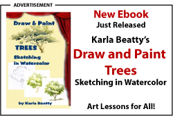 Draw and Paint Trees, sketching in watercolor by Karla Beatty