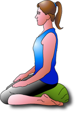 Kneeling meditation with a zafu cushion